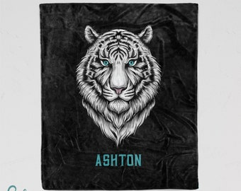 Personalized White Tiger Blanket - Super Soft Minky Blanket with Sizes for Baby, Child, Teen, or Adult!