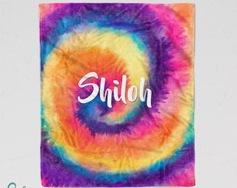 Personalized Tie Dye Blanket - Soft Minky Blanket with Sizes for Baby, Child, Teen, or Adult!