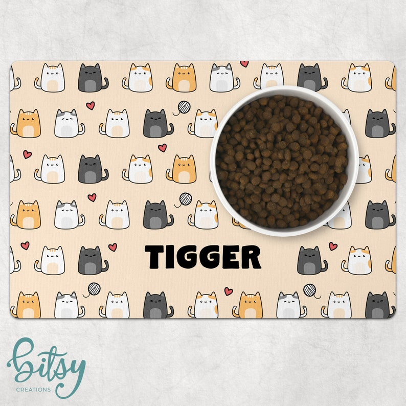 Cat Food Mat  Kawaii Cats  Personalized With Cat's Name image 0