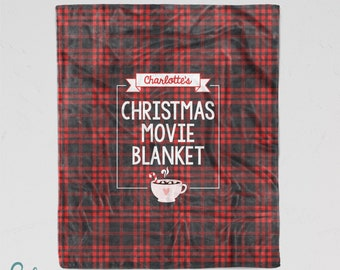 Personalized Christmas Movie Blanket - Custom Made Soft Minky Blanket with Your Name - Sizes for Child, Teen, or Adult!