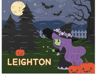 Personalized Halloween Puzzle - Cute Purple Witch - Kids Jigsaw Puzzle with Child's Name - 20 pieces, 8 x 10 inches