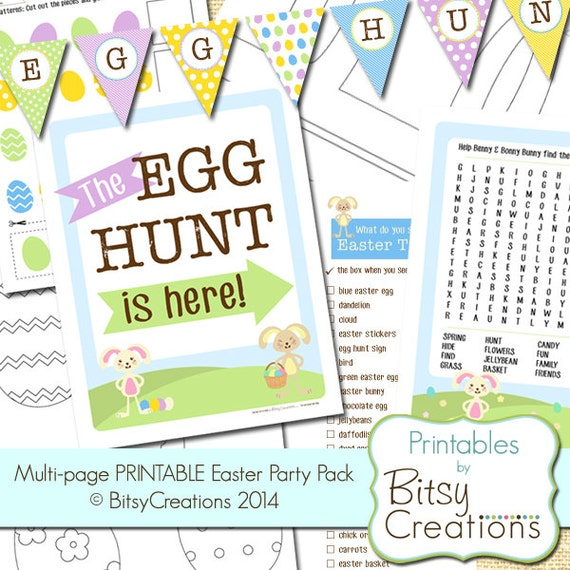 PRINTABLE Easter Activity Pages - Multi Page Easter Party Pack - Easter Banner - Easter Coloring Pages - Word Search