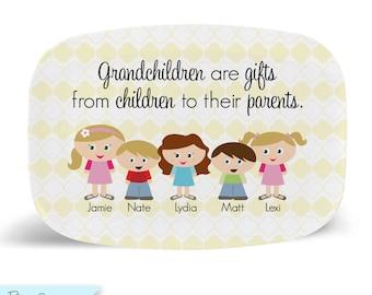 Kidlet Grandparent Tray/Platter - Plastic Tray for Grandma or Grandpa with Illustrations of the Grandchildren - Custom Made for You