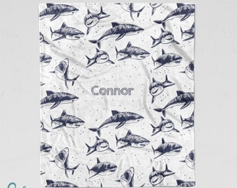 Personalized Shark Blanket - Soft Minky Blanket with Sizes for Baby, Child, Teen, or Adult! Custom Made with Any Name - Sketch Style