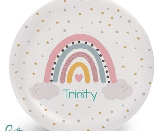 Rainbow Plate for Kids - Personalized Dinner Set - Plate, Bowl, Mug, Placemat, or Set Custom Made with Child's Name - Plastic
