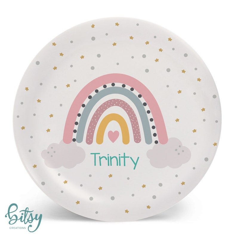 Rainbow Plate for Kids  Personalized Dinner Set  Plate image 0