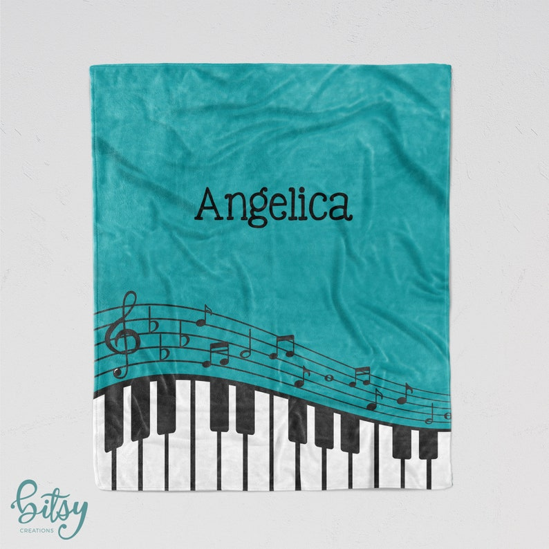 Personalized Piano Blanket  You Choose Color Super Soft image 0