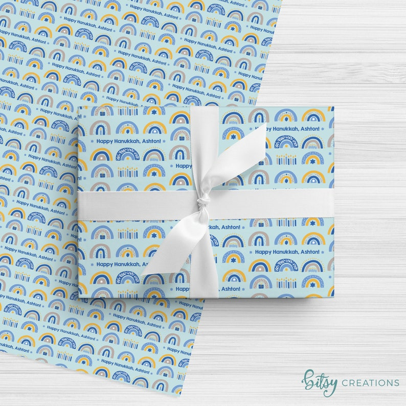 Personalized Hanukkah Wrapping Paper  Rainbows  Custom Made image 0