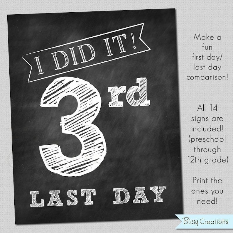 picture relating to Last Day of School Signs Printable named Very last Working day of University Printable Signs and symptoms Quick Obtain Chalkboard Printable Faculty Signs and symptoms
