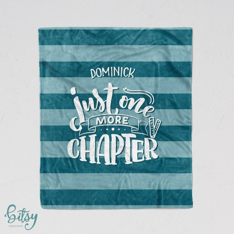 Personalized Reading Blanket  Blue Stripes Soft Minky image 0