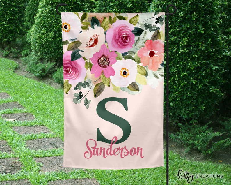 Monogram Yard Flag  Pink Flowers with Last Name and Initial image 0
