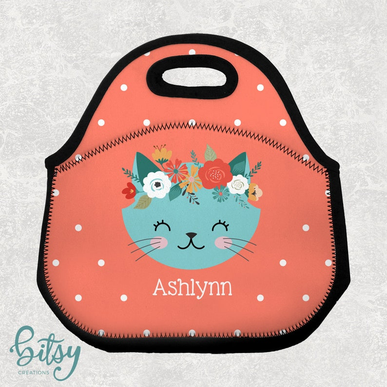 Personalized Cat Lunch Tote  Cat with Flowers Lunch Bag for image 0