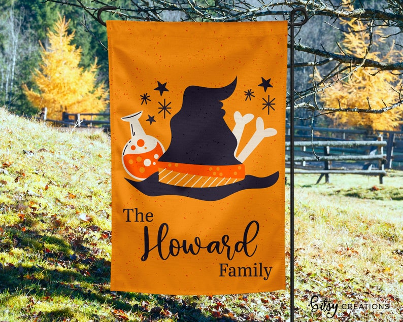Personalized Halloween Yard Flag  Witch Hat Garden Flag  image 0