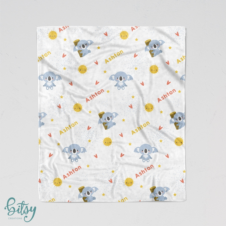 Personalized Koala Blanket  Soft Minky Blanket with Sizes for image 0