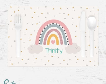 Personalized Rainbow Placemat for Children - Custom Made with Any Name - Heart Stars Cloud