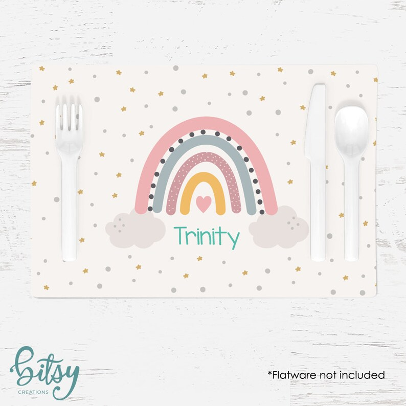 Personalized Rainbow Placemat for Children  Custom Made with image 0