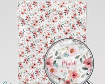 Personalized Floral Blanket - Soft Minky Blanket with Pink Watercolor Style Flowers - Sizes for Baby, Child, Teen, or Adult!
