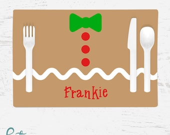 Personalized Christmas Placemat for Kids - Gingerbread Belly Placemat - Custom Made with Child's Name - Christmas Placemat - Gingerbread Man