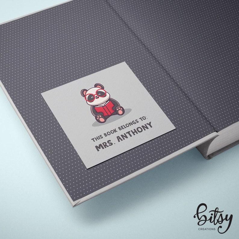 Personalized Panda Bookplate Stickers  20 Square Stickers  image 0