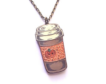 Pumpkin Spice Coffee Necklace, Coffee Travel Mug Pendant, Coffee Cup Necklace, Knit Coffee Cozy, Necklace for Coffee Lover, Fall Jewelry
