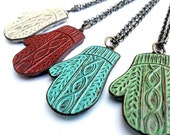 Cable Knit Mitten Necklace - Smittens - Cream, Rust Red, Turquoise or Green