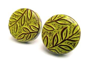 Lime Green Leaf Post Earrings, Jungle Vineyard Studio Earrings, Button Earrings, Leaf Patterned Earrings, Wife Gift
