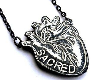 Black and White Anatomical Heart Necklace  - Sacred Heart Necklace - Valentine's Day Gift