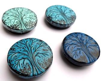 Shades of Blue Winter Tree Magnet Set - Hibernation