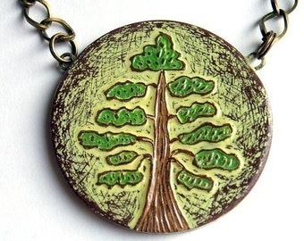 Green Tree Necklace, Tree of Life Necklace, Woodland Tree Pendant, Rustic Tree Jewelry, Nature Lover Gift, Tree Hugger Gift, Gift for Her