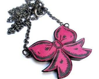 Pink Bow Necklace - Pretty in Pink, Pink Ribbon Necklace, Wife Gift, Girlfriend Gift, Teen Gift, Cute Jewelry, Bow Pendant