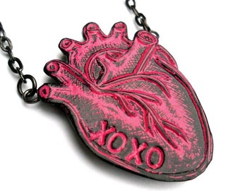 XOXO Anatomical Heart Necklace, Hugs & Kisses Necklace, Valentine's Day Gift,  Hot Pink and Black Necklace, Wife Gift, Girlfriend Gift
