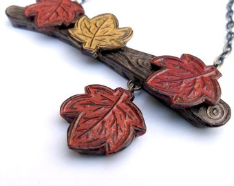Fall Leaves Necklace. Tree Branch Necklace with Red, yellow and Orange leaves. Fall Jewelry. Autumn Jewelry
