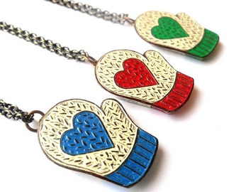 Knit Mitten Necklace , Smittens, Valentines Day Necklace, Heart Jewelry, Red, Blue or Green Heart Necklace, Girlfriend Gift, Daughter Gift