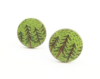 Pine Tree Cufflinks, Forest Cufflinks, Woodland Cuff Links, Fathet's Day Gift, Outdoorsman Gift, Woodland Wedding, Gift for Men, Groom Gift