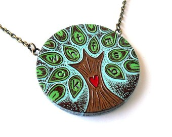 Personalized Necklace, Personalized Family Tree Necklace , Custom Necklace, Pastel Blue, Green and Brown Tree Necklace, Mother's Necklace