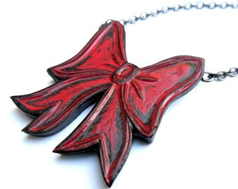 Red Bow Necklace, Forget Me Not, Gift for Wife, Gift for Girlfriend, Fancy Bow Necklace, Gift for Her, Gift for Teen Girl