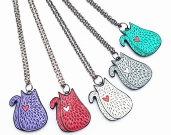 Cat Necklace, Kitty Cat Necklace, Cat Pendant, Cat Jewelry, Mother's Day Gift, Animal Lover Gift, Animal Jewelry, Wife Gift, Cat Lady Gift