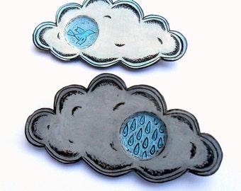 Peek-a-boo Cloud Brooch - Rain Cloud Pin or Blue Bird Cloud PIn - Grey, Blue and Black