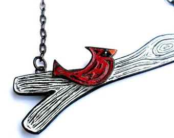 Red Cardinal Necklace, Red Bird Necklace, Black and White Tree Branch Necklace, Cute Bird Pendant, Bird on a Tree Branch Necklace, Mom Gift