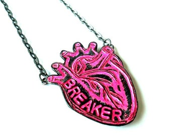Anatomical Heart Necklace, Conversation Heart Necklace, Heartbreaker Necklace, Anti-Valentine, Neon Pink Jewelry, Stamped Jewelry