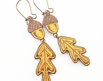 Mustard Yellow and Brown Acorn and Oak Leaf Dangle Earrings, Fall Acorn Jewelry, Fall Earrings, Acorn Earrings, Fall Fashion, Gift for Her