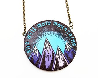 Mountain Necklace, She Will Move Mountains Pendant, Graduation Gift, Mountain Jewelry, Inspirational Quote Jewelry, Wife Gift, Daughter Gift
