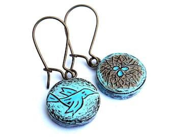 Mother's Day Motherhood Dangle Earrings - Pastel Blue Bird and Nest Earrings - Spring Jewelry - Bird Earrings