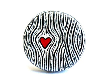 Wood grain Ring. Black and White Ring. Faux Bois Jewelry.Woodgrain with Red Heart Ring. Wood You Love Me. Wood Anniversary Gift.