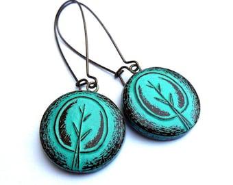Turquoise Tree Dangle Earrings, Retro Tree Drop Earrings, Rustic Tree Earrings, Turquoise Tree Jewelry, Tree of Life Earrings, Gift for Her