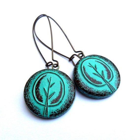 Gift For Her Turquoise Green Tree Earrings Tree of Life Earrings Drop Earrings Dangle Earrings