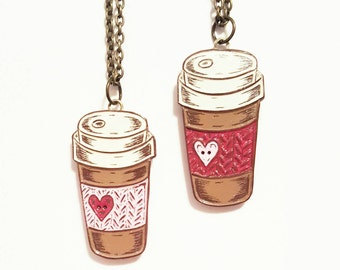 Coffee Necklace, Travel Mug Necklace, Coffee Cup Necklace, Knit Coffee Cozy, Coffee Lover Gift, Gift for Knitter, Heart Button, Teacher Gift