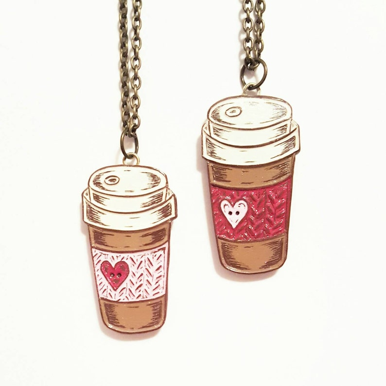 Coffee Necklace Travel Mug Necklace Coffee Cup Necklace image 0