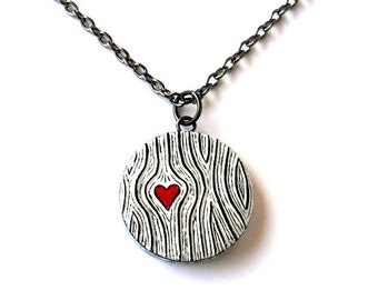 Woodgrain Heart Necklace, Faux Bois Necklace, Black and White, Heart Jewelry, Wood Anniversary Gift, Bridesmaid Gift, Woodland Wedding