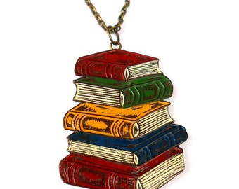 Pile of Books Necklace. Book Necklace. Bibliophile Gift. Gift for Book Lover. Gift for Book Worm. Gift for Graduate. Gift for Teacher